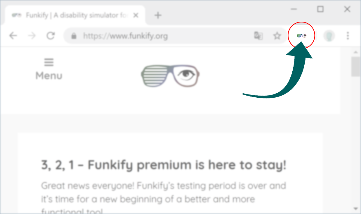 Screenshot of funkify.org with an arrow showing where you need to press in order to activate Funkify extension, It's to the right of the adress bar.